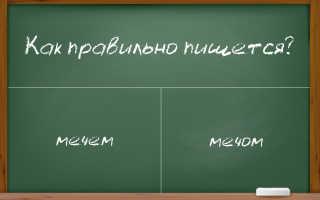 """Правильное написание существительного """"мечем"""" – через """"о"""" или через """"е""""?"""